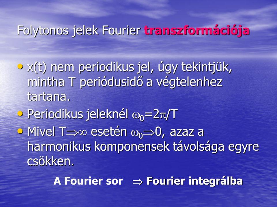 Folytonos jelek Fourier transzformációja x(t) nem periodikus jel, úgy tekintjük, mintha T periódusidő a végtelenhez tartana. x(t) nem periodikus jel,