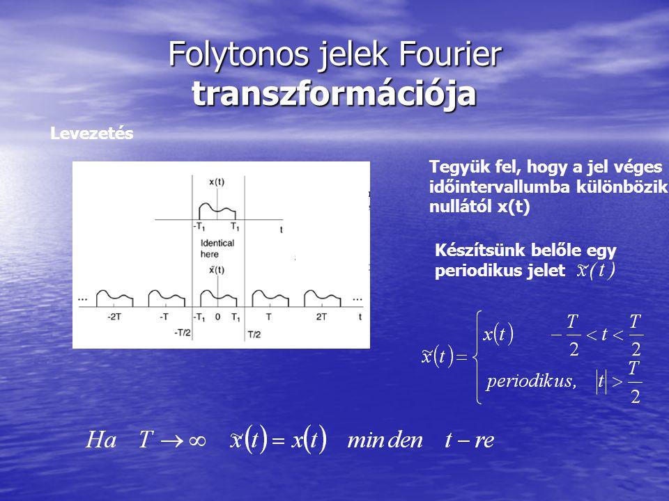Folytonos jelek Fourier transzformációja Levezetés Tegyük fel, hogy a jel véges időintervallumba különbözik nullától x(t) Készítsünk belőle egy period