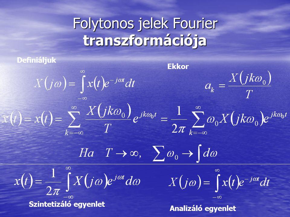 Folytonos jelek Fourier transzformációja Definiáljuk Ekkor Szintetizáló egyenlet Analizáló egyenlet