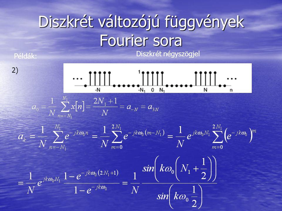 Diszkrét változójú függvények Fourier sora Példák: 2) Diszkrét négyszögjel