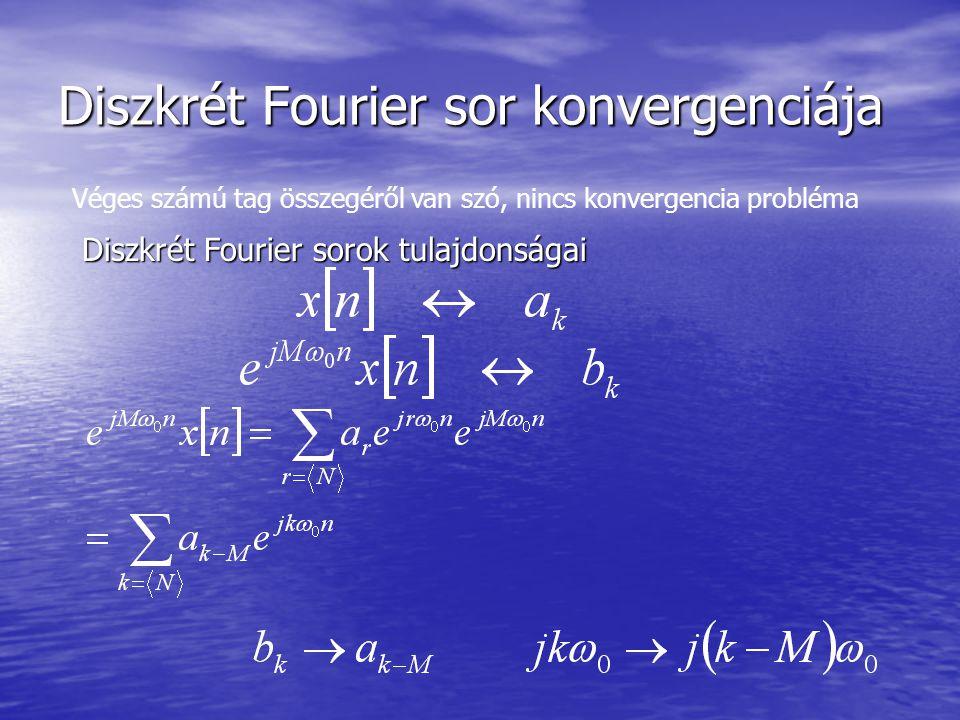 Diszkrét Fourier sor konvergenciája Véges számú tag összegéről van szó, nincs konvergencia probléma Diszkrét Fourier sorok tulajdonságai