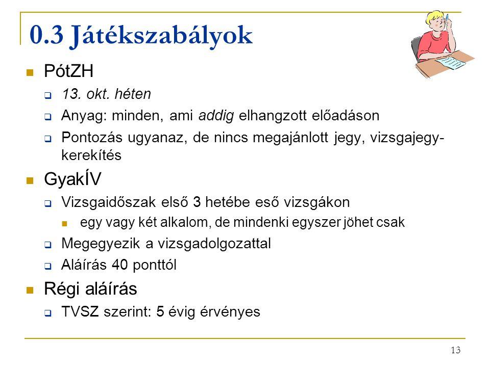 13 0.3 Játékszabályok PótZH  13.okt.