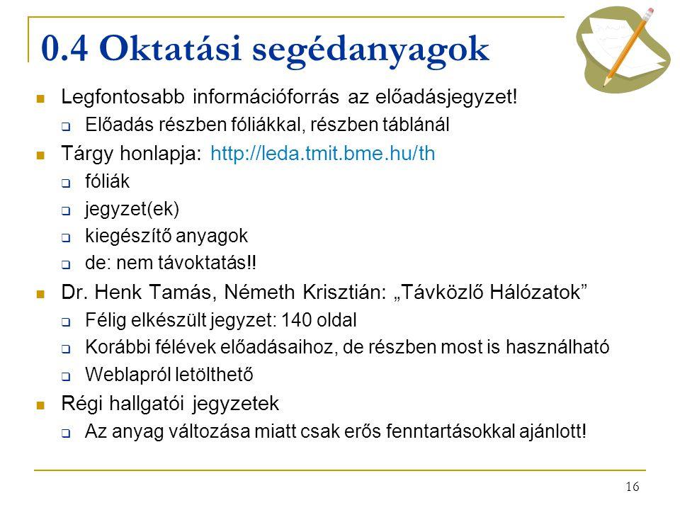 16 0.4 Oktatási segédanyagok Legfontosabb információforrás az előadásjegyzet.