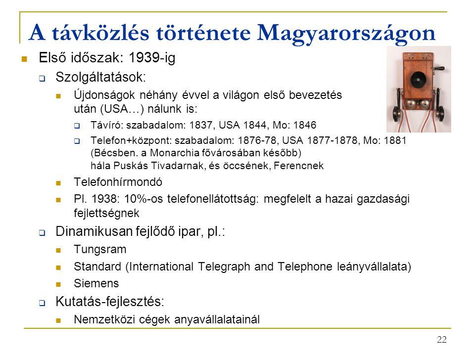 22 A távközlés története Magyarországon Első időszak: 1939-ig  Szolgáltatások: Újdonságok néhány évvel a világon első bevezetés után (USA…) nálunk is:  Távíró: szabadalom: 1837, USA 1844, Mo: 1846  Telefon+központ: szabadalom: 1876-78, USA 1877-1878, Mo: 1881 (Bécsben.