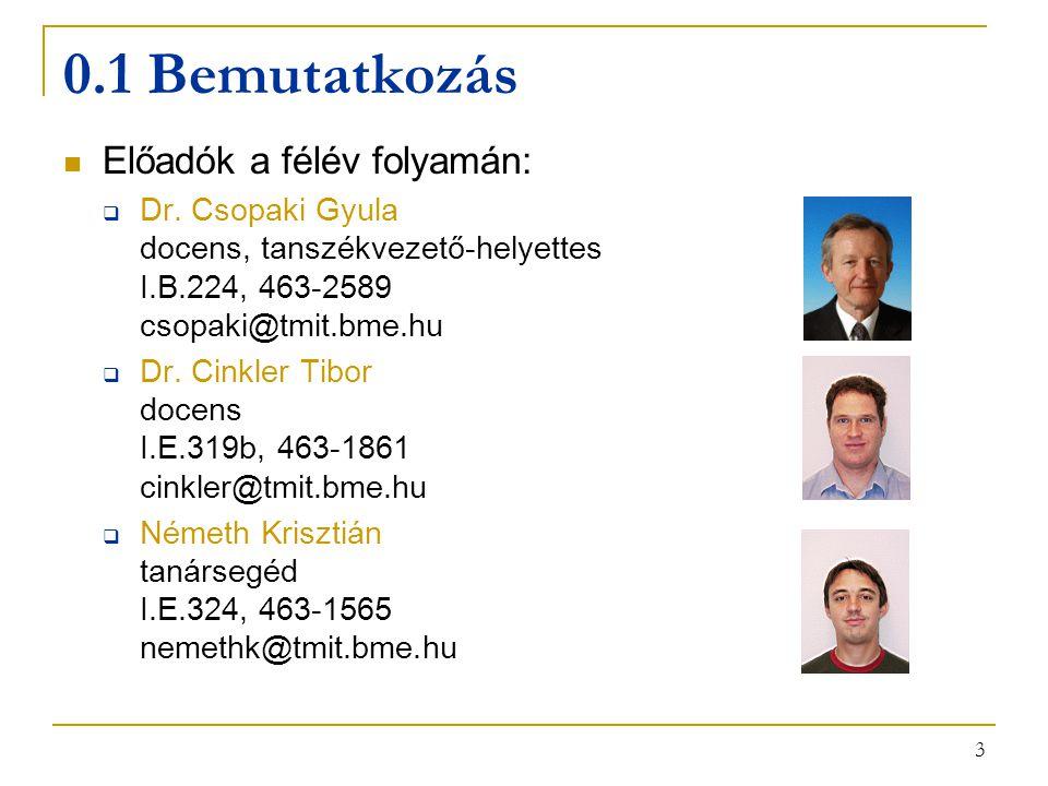 3 0.1 Bemutatkozás Előadók a félév folyamán:  Dr. Csopaki Gyula docens, tanszékvezető-helyettes I.B.224, 463-2589 csopaki@tmit.bme.hu  Dr. Cinkler T