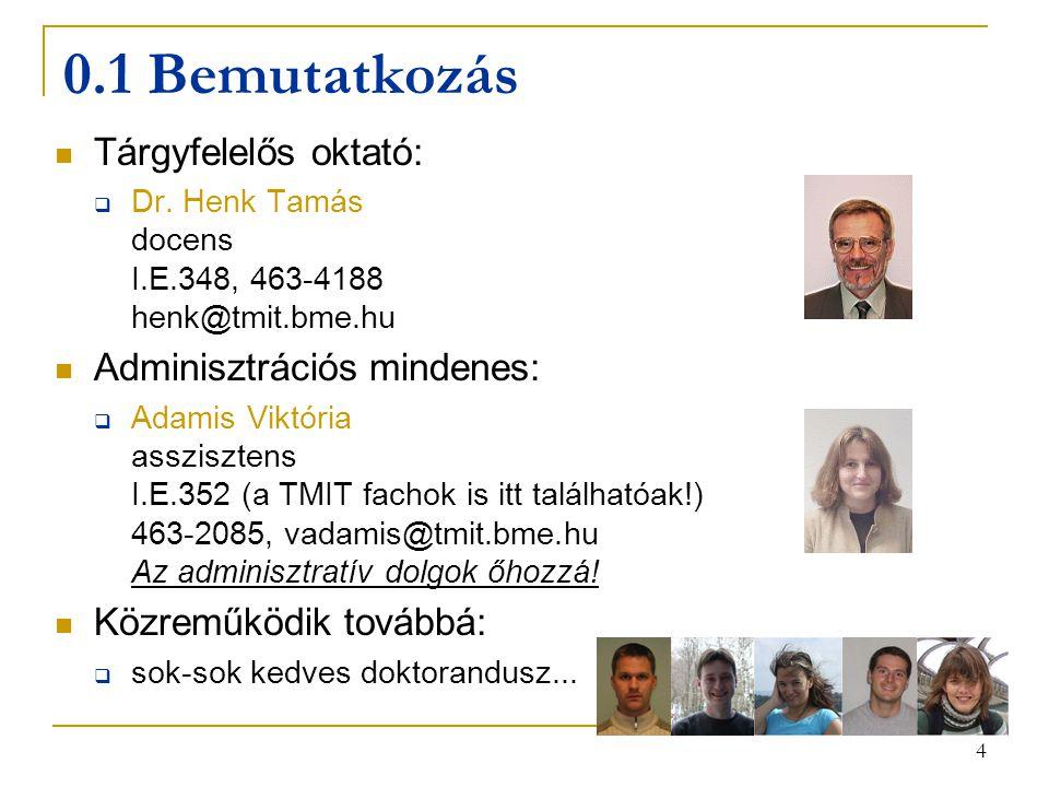 4 0.1 Bemutatkozás Tárgyfelelős oktató:  Dr. Henk Tamás docens I.E.348, 463-4188 henk@tmit.bme.hu Adminisztrációs mindenes:  Adamis Viktória asszisz