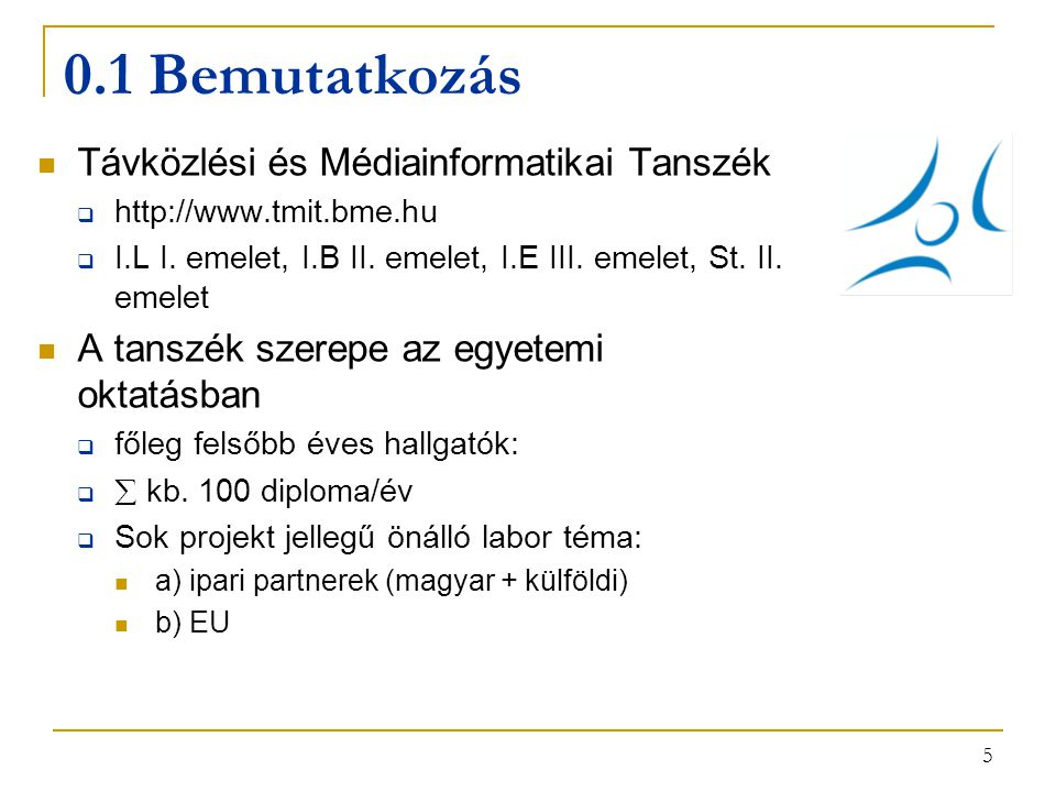 5 0.1 Bemutatkozás Távközlési és Médiainformatikai Tanszék  http://www.tmit.bme.hu  I.L I. emelet, I.B II. emelet, I.E III. emelet, St. II. emelet A