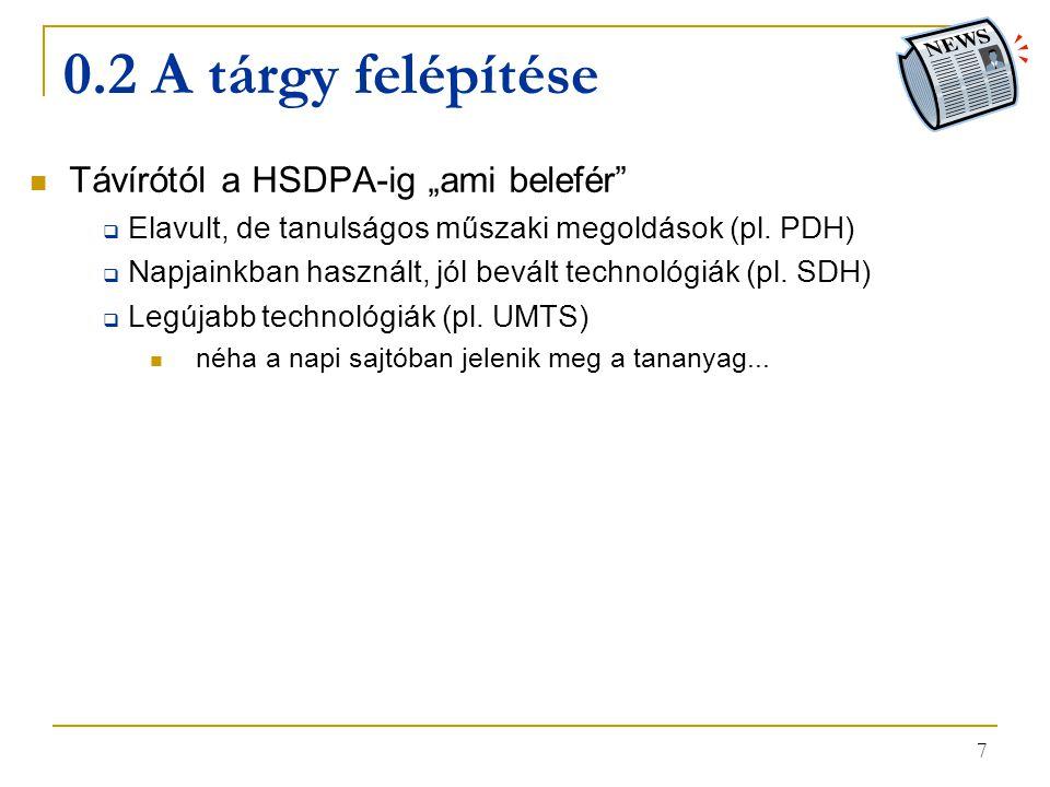 """7 0.2 A tárgy felépítése Távírótól a HSDPA-ig """"ami belefér""""  Elavult, de tanulságos műszaki megoldások (pl. PDH)  Napjainkban használt, jól bevált t"""