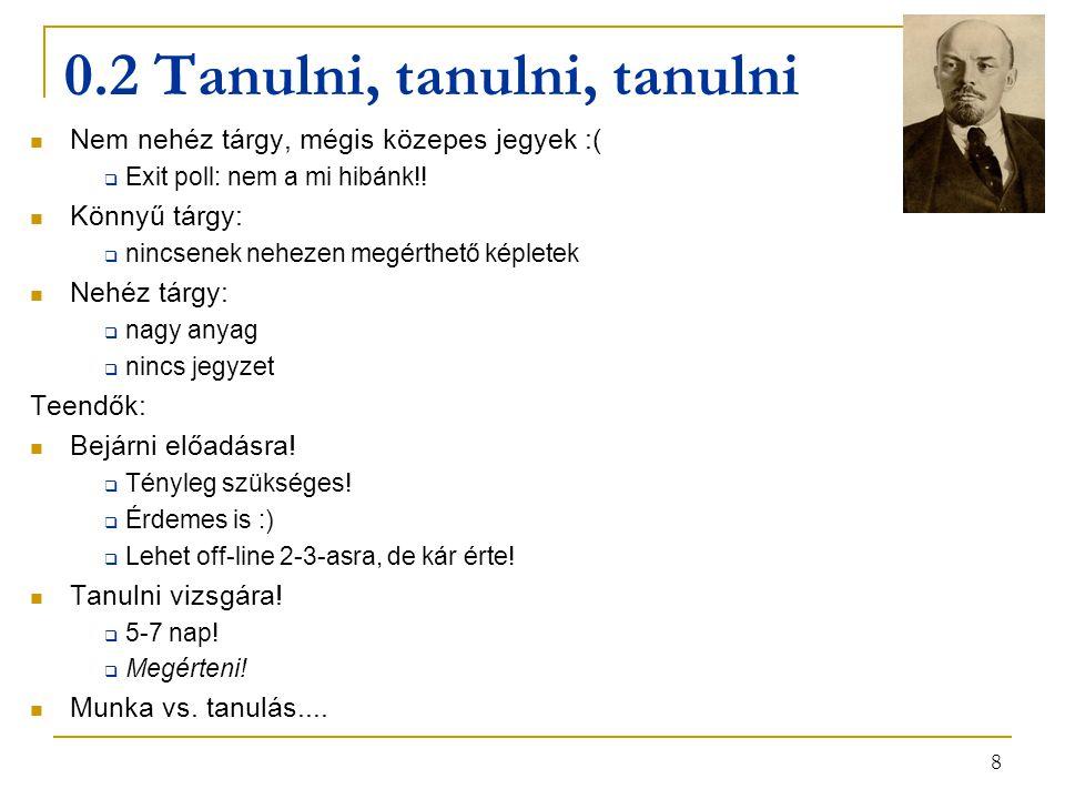 8 0.2 Tanulni, tanulni, tanulni Nem nehéz tárgy, mégis közepes jegyek :(  Exit poll: nem a mi hibánk!! Könnyű tárgy:  nincsenek nehezen megérthető k