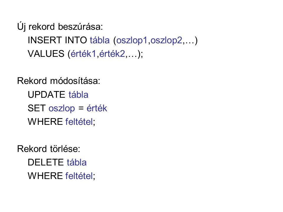 Új rekord beszúrása: INSERT INTO tábla (oszlop1,oszlop2,…) VALUES (érték1,érték2,…); Rekord módosítása: UPDATE tábla SET oszlop = érték WHERE feltétel