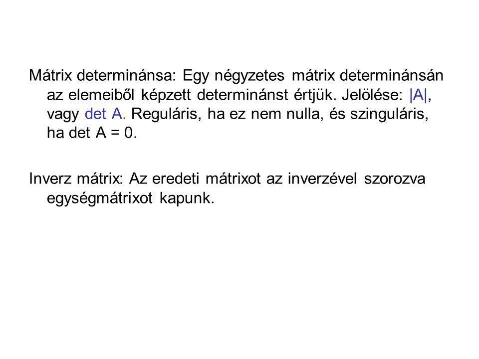 Mátrix determinánsa: Egy négyzetes mátrix determinánsán az elemeiből képzett determinánst értjük. Jelölése: |A|, vagy det A. Reguláris, ha ez nem null