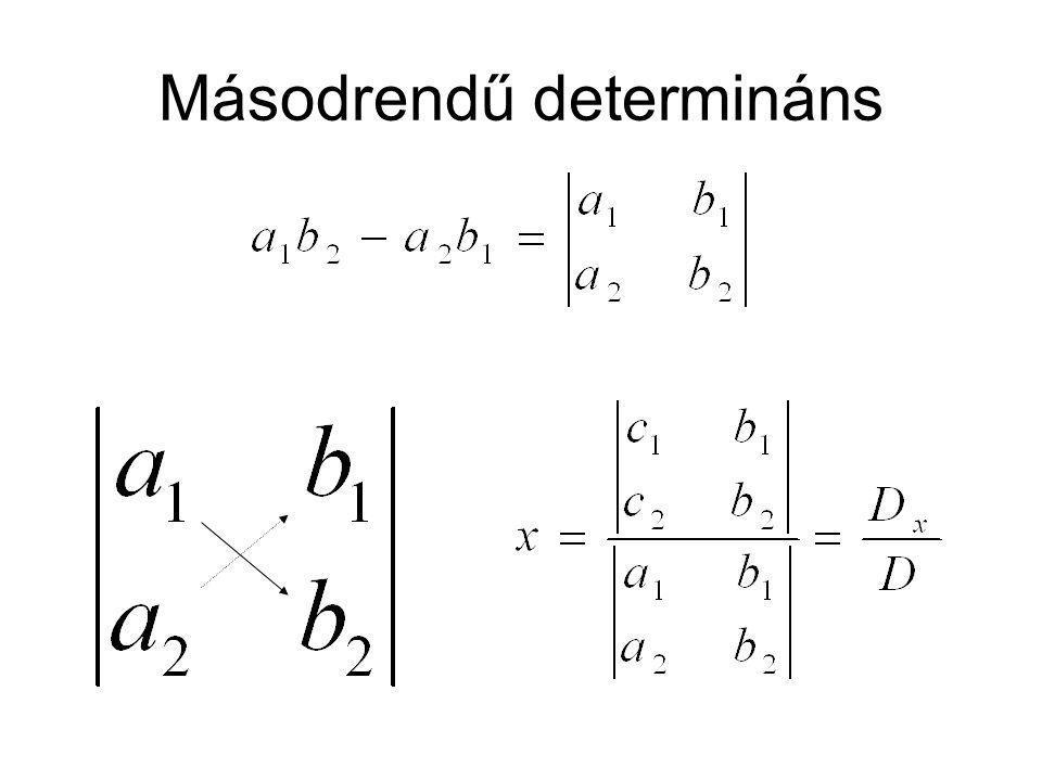 Másodrendű determináns tulajdonságai 1.Determináns értéke nem változik, ha az elemeket bármely átlóra tükrözzük.