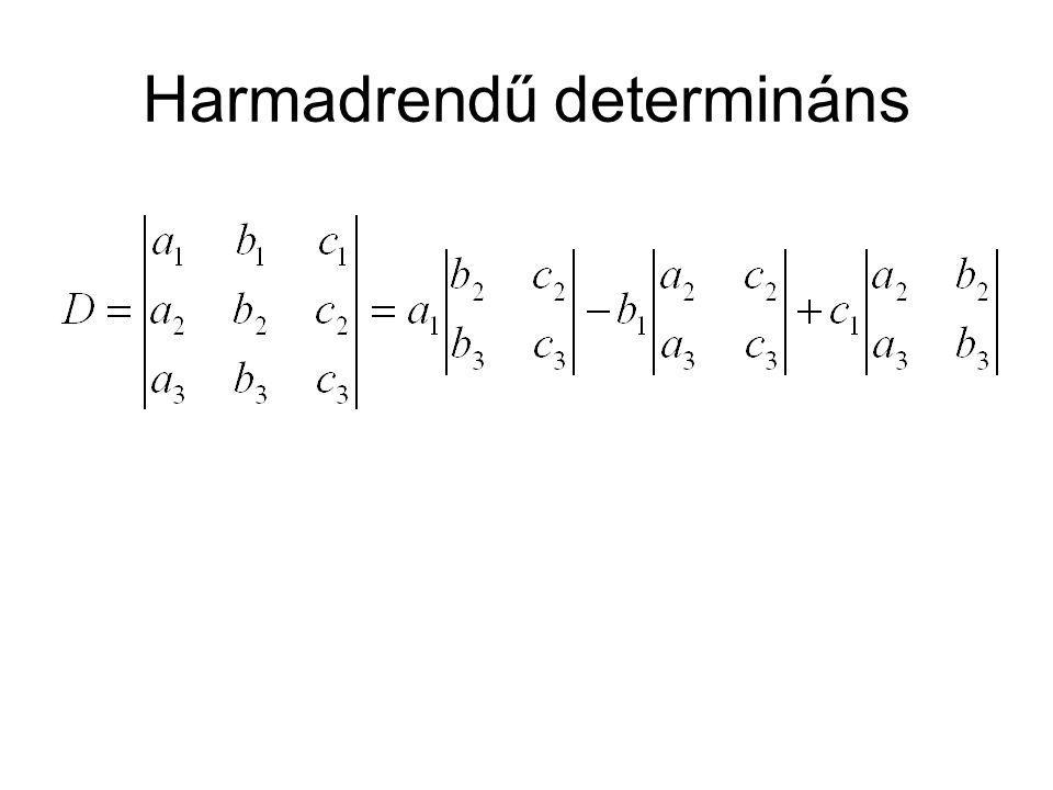 Aldetermináns Úgy kapjuk meg, hogy elhagyjuk azt az sort, és oszlopot, amely azt az elemet tartalmazza, amihez az aldetreminánst meg akarjuk határozni.