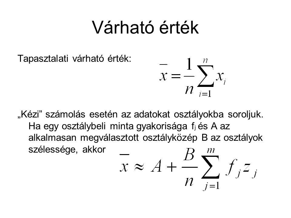 """Várható érték Tapasztalati várható érték: """"Kézi"""" számolás esetén az adatokat osztályokba soroljuk. Ha egy osztálybeli minta gyakorisága f j és A az al"""