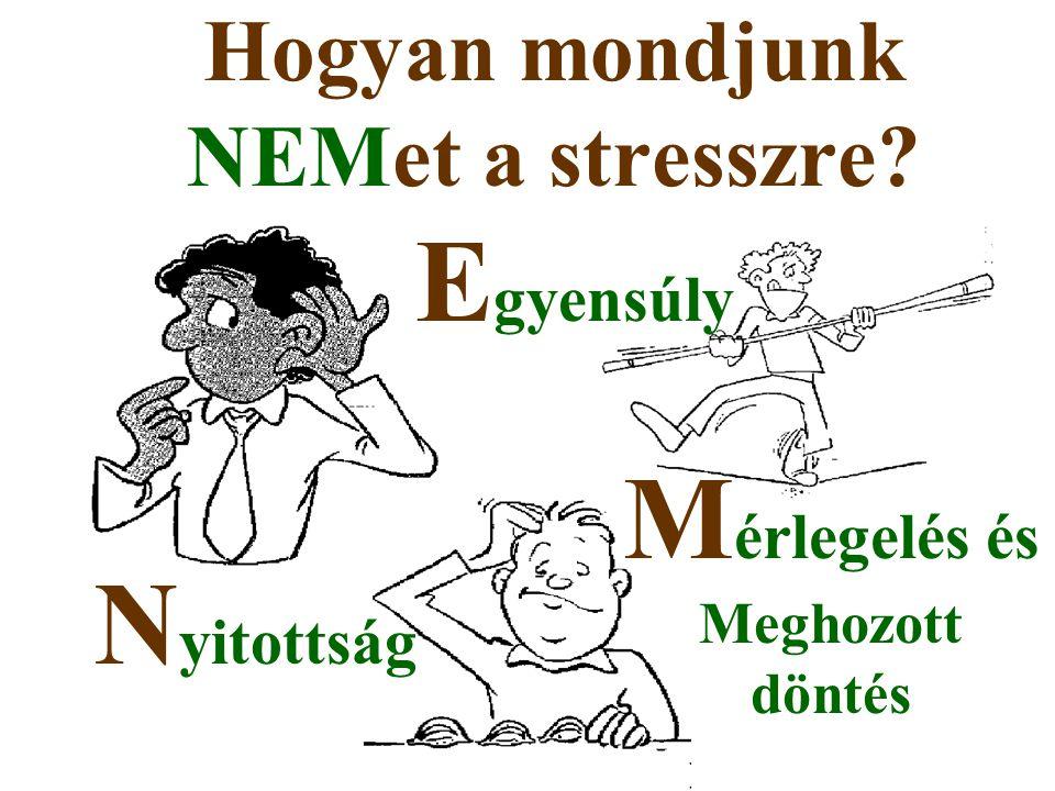 Hogyan mondjunk NEMet a stresszre? N yitottság E gyensúly M érlegelés és Meghozott döntés