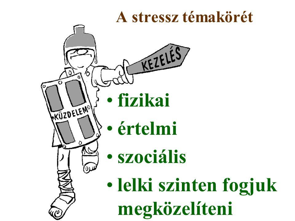 fizikai értelmi szociális lelki szinten fogjuk megközelíteni A stressz témakörét
