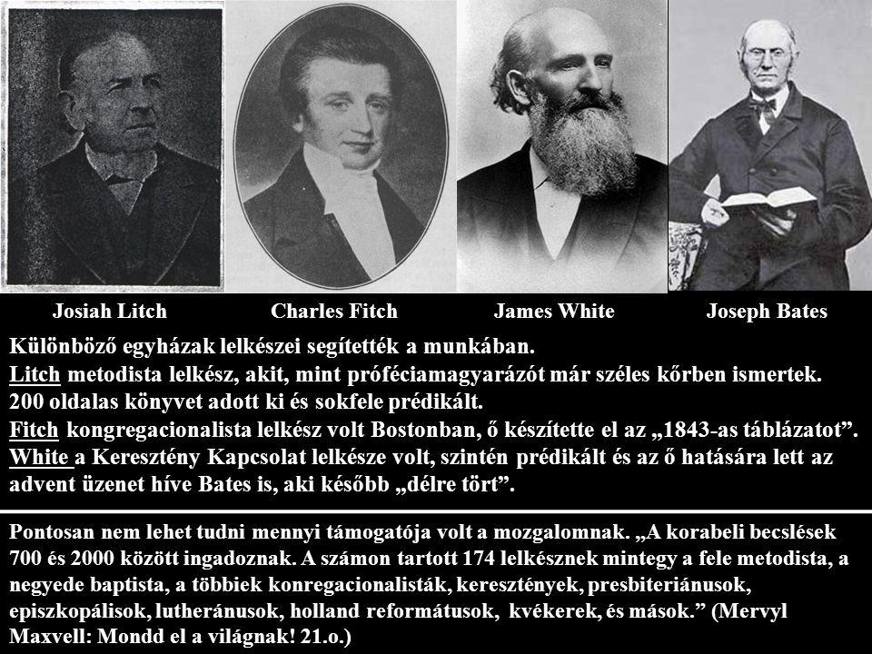 Josiah LitchCharles Fitch James WhiteJoseph Bates Különböző egyházak lelkészei segítették a munkában.