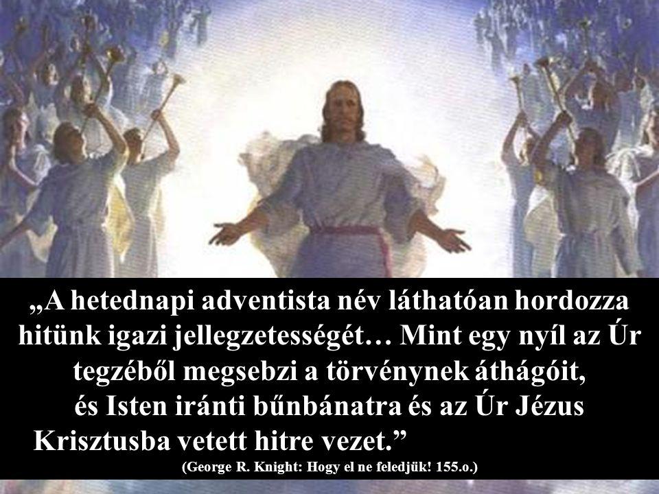 """""""A hetednapi adventista név láthatóan hordozza hitünk igazi jellegzetességét… Mint egy nyíl az Úr tegzéből megsebzi a törvénynek áthágóit, és Isten iránti bűnbánatra és az Úr Jézus Krisztusba vetett hitre vezet. (George R."""