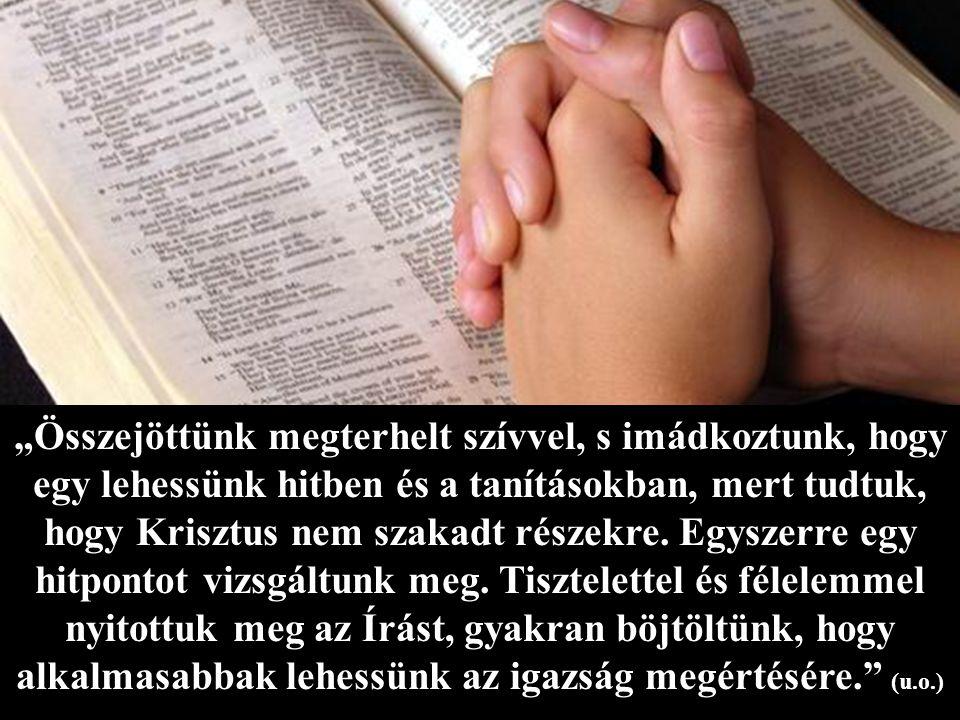 """""""Összejöttünk megterhelt szívvel, s imádkoztunk, hogy egy lehessünk hitben és a tanításokban, mert tudtuk, hogy Krisztus nem szakadt részekre."""