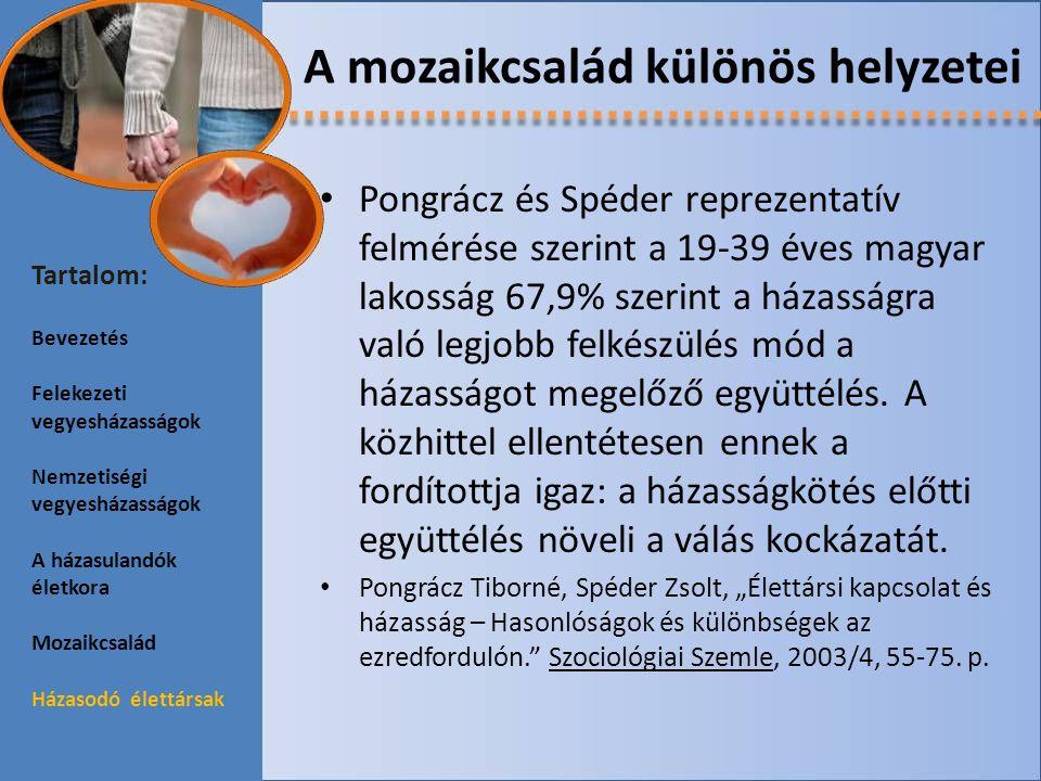 A mozaikcsalád különös helyzetei Pongrácz és Spéder reprezentatív felmérése szerint a 19-39 éves magyar lakosság 67,9% szerint a házasságra való legjo