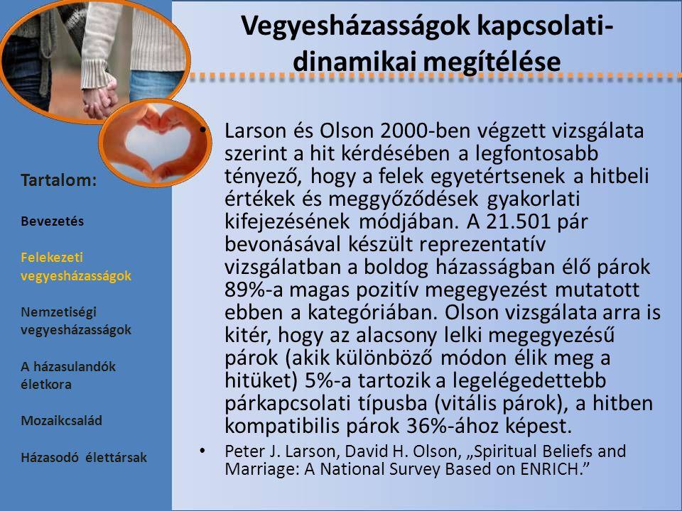 A mozaikcsalád különös helyzetei Pongrácz és Spéder reprezentatív felmérése szerint a 19-39 éves magyar lakosság 67,9% szerint a házasságra való legjobb felkészülés mód a házasságot megelőző együttélés.