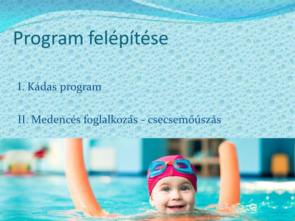 Program felépítése I. Kádas program II. Medencés foglalkozás - csecsemőúszás