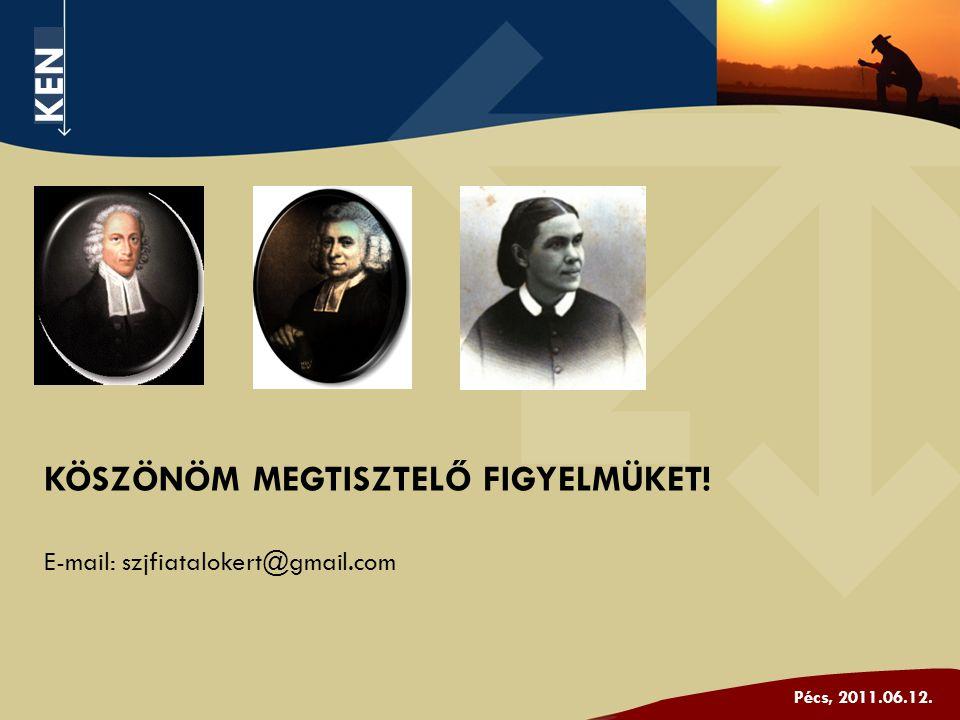 KEN Pécs, 2011.06.12. KÖSZÖNÖM MEGTISZTELŐ FIGYELMÜKET! E-mail: szjfiatalokert@gmail.com