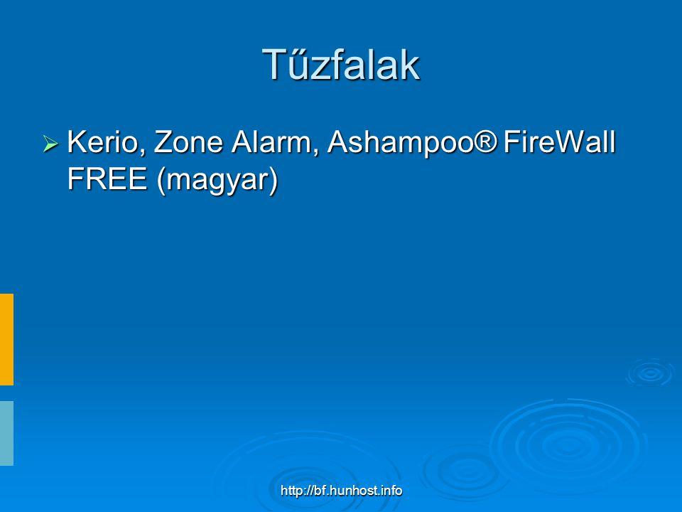 http://bf.hunhost.info Tűzfalak  Kerio, Zone Alarm, Ashampoo® FireWall FREE (magyar)