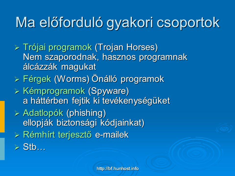 http://bf.hunhost.info Ma előforduló gyakori csoportok  Trójai programok (Trojan Horses) Nem szaporodnak, hasznos programnak álcázzák magukat  Férgek (Worms) Önálló programok  Kémprogramok (Spyware) a háttérben fejtik ki tevékenységüket  Adatlopók (phishing) ellopják biztonsági kódjainkat)  Rémhírt terjesztő e-mailek  Stb…