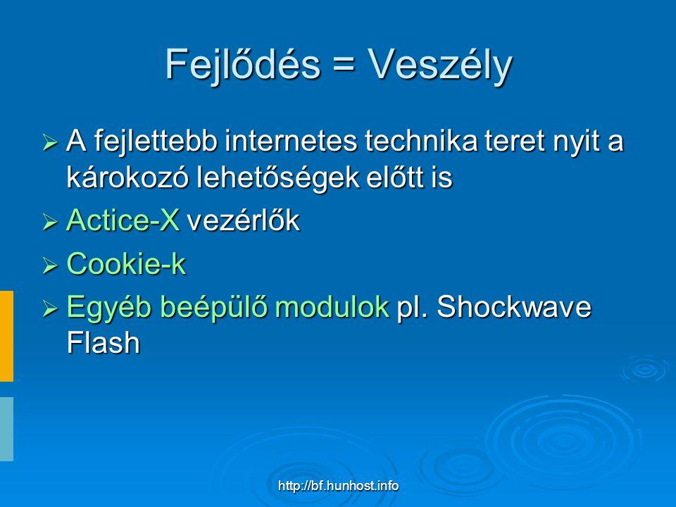 http://bf.hunhost.info Fejlődés = Veszély  A fejlettebb internetes technika teret nyit a károkozó lehetőségek előtt is  Actice-X vezérlők  Cookie-k  Egyéb beépülő modulok pl.