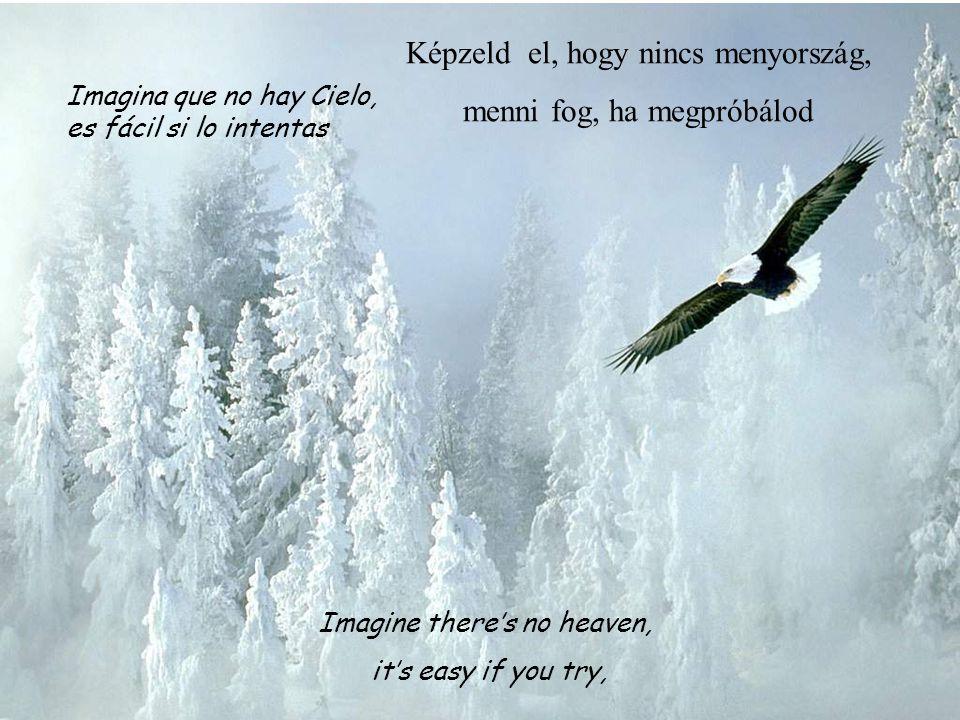 Imagine there's no heaven, it's easy if you try, Imagina que no hay Cielo, es fácil si lo intentas Képzeld el, hogy nincs menyország, menni fog, ha megpróbálod