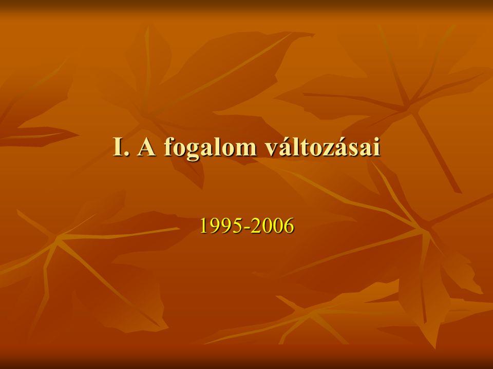 I. A fogalom változásai 1995-2006