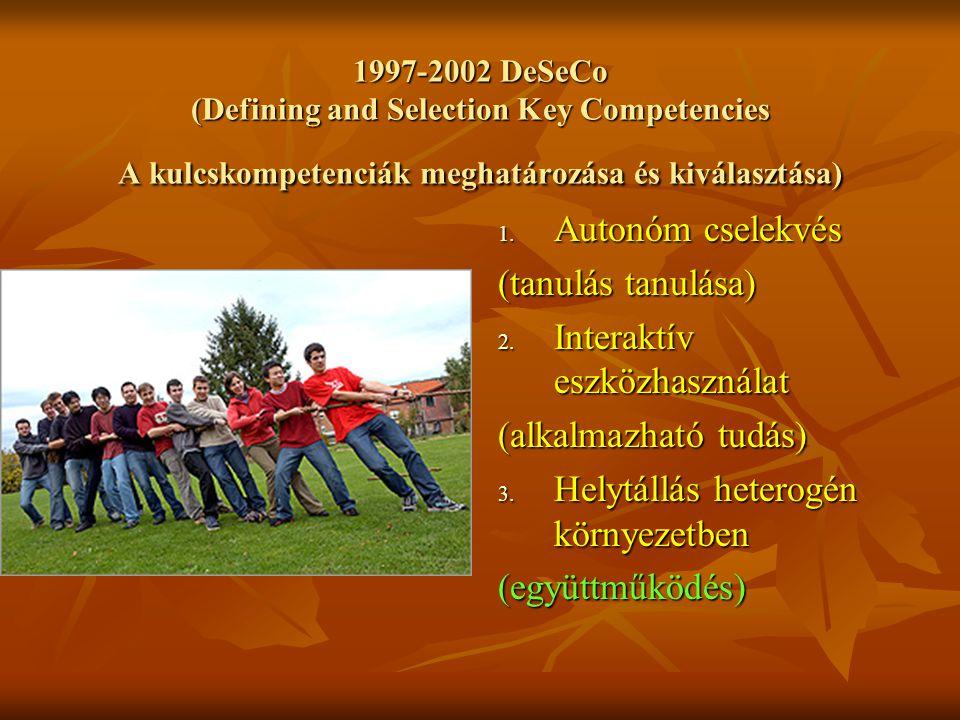 1997-2002 DeSeCo (Defining and Selection Key Competencies A kulcskompetenciák meghatározása és kiválasztása) 1.
