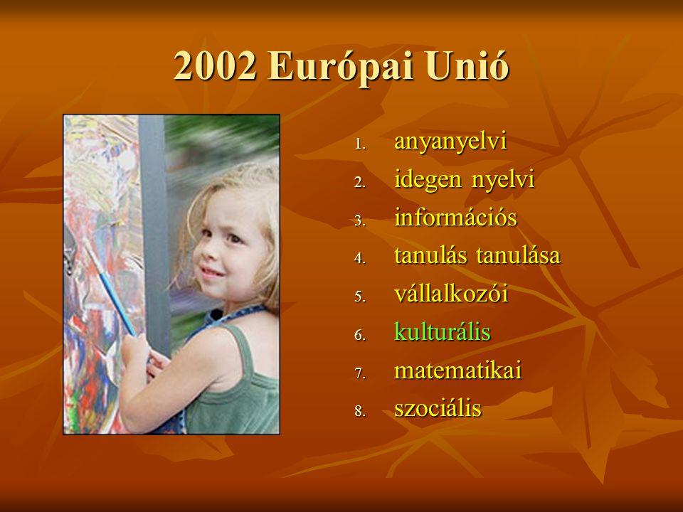 2002 Európai Unió 1. anyanyelvi 2. idegen nyelvi 3.