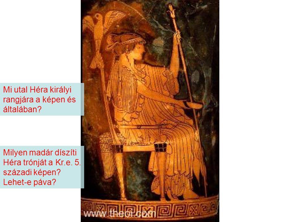 Milyen madár díszíti Héra trónját a Kr.e.5. századi képen.