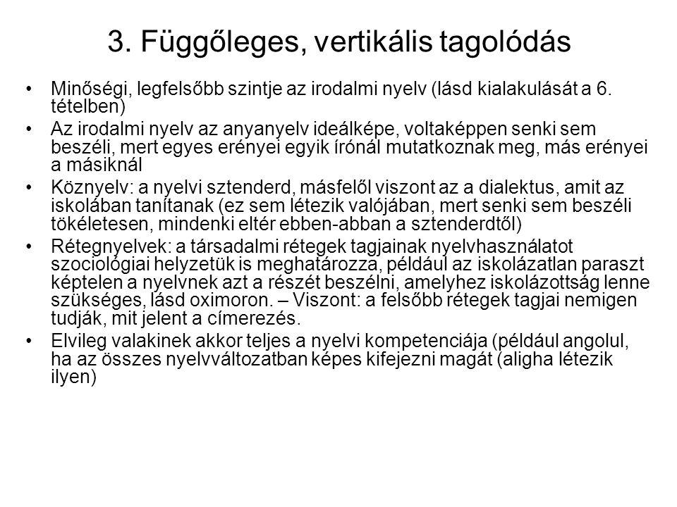 3. Függőleges, vertikális tagolódás Minőségi, legfelsőbb szintje az irodalmi nyelv (lásd kialakulását a 6. tételben) Az irodalmi nyelv az anyanyelv id
