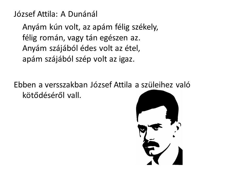 József Attila: A Dunánál Anyám kún volt, az apám félig székely, félig román, vagy tán egészen az. Anyám szájából édes volt az étel, apám szájából szép