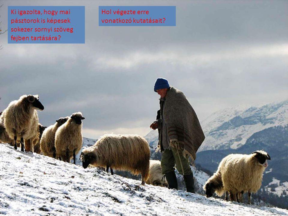 Ki igazolta, hogy mai pásztorok is képesek sokezer sornyi szöveg fejben tartására? Hol végezte erre vonatkozó kutatásait?