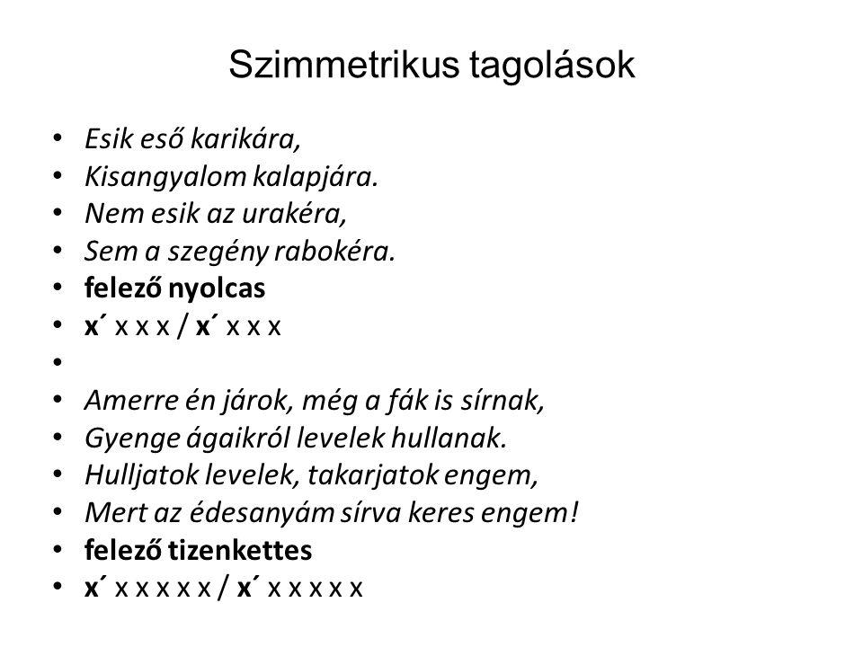 Szimmetrikus tagolások Esik eső karikára, Kisangyalom kalapjára.