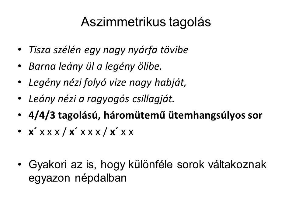 Aszimmetrikus tagolás Tisza szélén egy nagy nyárfa tövibe Barna leány ül a legény ölibe.