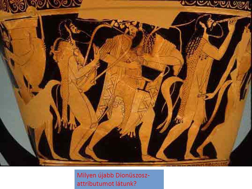 Milyen újabb Dionüszosz- attributumot látunk?
