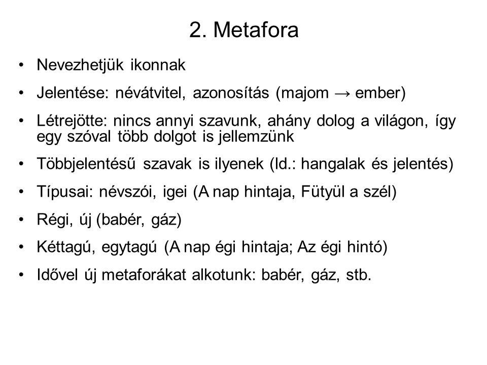 2. Metafora Nevezhetjük ikonnak Jelentése: névátvitel, azonosítás (majom → ember) Létrejötte: nincs annyi szavunk, ahány dolog a világon, így egy szóv