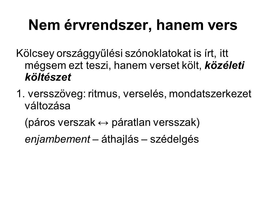 Nem érvrendszer, hanem vers Kölcsey országgyűlési szónoklatokat is írt, itt mégsem ezt teszi, hanem verset költ, közéleti költészet 1.