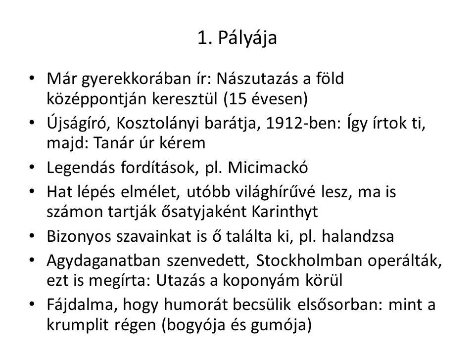 1. Pályája Már gyerekkorában ír: Nászutazás a föld középpontján keresztül (15 évesen) Újságíró, Kosztolányi barátja, 1912-ben: Így írtok ti, majd: Tan