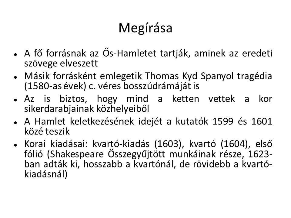 Megírása A fő forrásnak az Ős-Hamletet tartják, aminek az eredeti szövege elveszett Másik forrásként emlegetik Thomas Kyd Spanyol tragédia (1580-as év