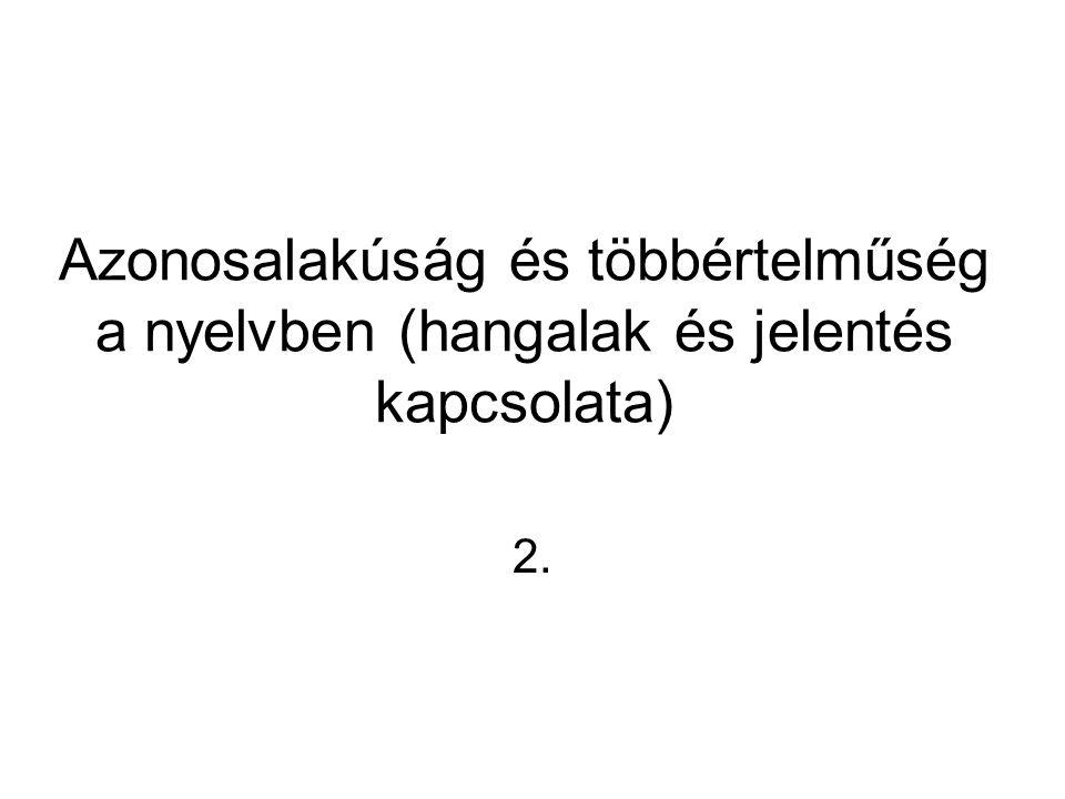 Azonosalakúság és többértelműség a nyelvben (hangalak és jelentés kapcsolata) 2.