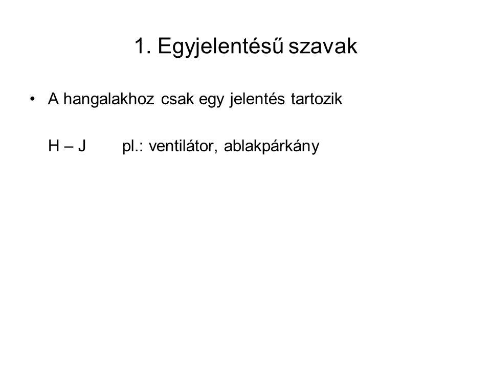 1. Egyjelentésű szavak A hangalakhoz csak egy jelentés tartozik H – J pl.: ventilátor, ablakpárkány