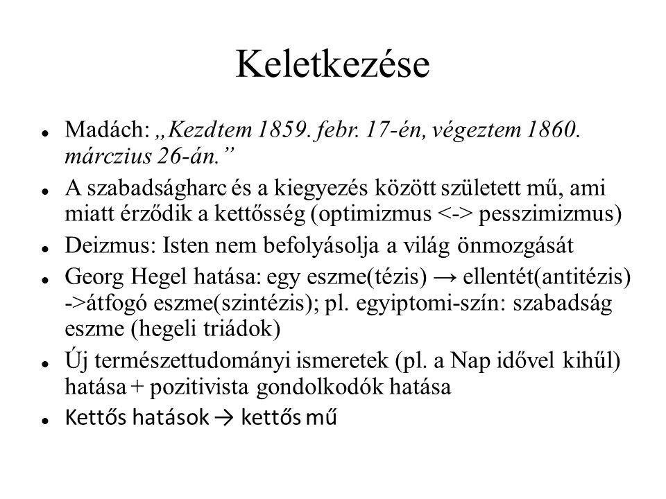 """Keletkezése Madách: """"Kezdtem 1859. febr. 17-én, végeztem 1860. márczius 26-án."""" A szabadságharc és a kiegyezés között született mű, ami miatt érződik"""