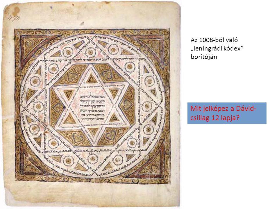"""Az 1008-ból való """"leningrádi kódex borítóján Mit jelképez a Dávid- csillag 12 lapja?"""