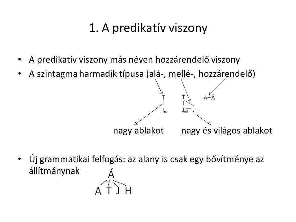 1. A predikatív viszony A predikatív viszony más néven hozzárendelő viszony A szintagma harmadik típusa (alá-, mellé-, hozzárendelő) nagy ablakot nagy